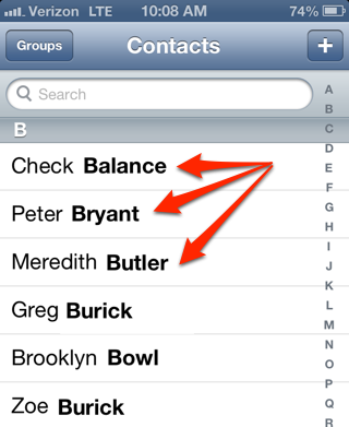 Как сделать контакты по фамилии в айфон