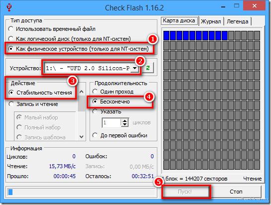Рисунок 1. Как проверить флешку и microSD-карту на ошибки и протестировать на работоспособность с помощью программы Check Flash?