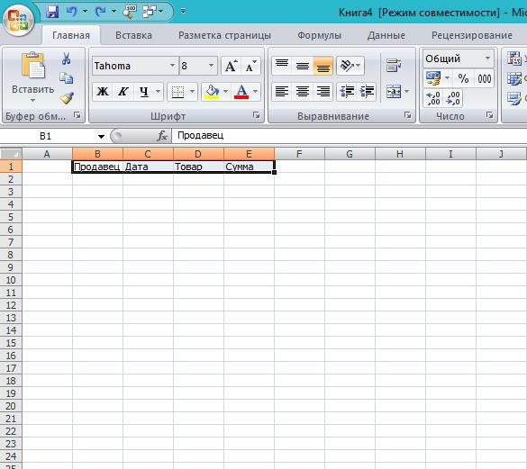 Рисунок 1. Создание базы данных для внесения её в сводную таблицу Excel 2003, 2007, 2010