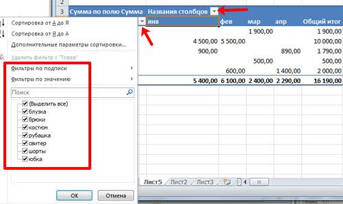 Рисунок 13. Как сделать сводную таблицу в Excel 2003, 2007, 2010 с формулами?