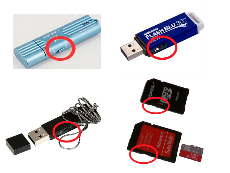Изображение 2. Расположение блокиратора на флешках и SD-картах.
